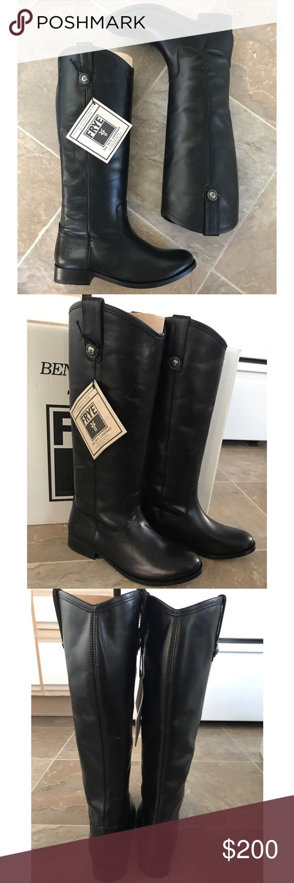 Frye 'Melissa Button' Leather Riding Boot sz 6 NIB Frye 'Melissa Button' (Black) Leather Riding Boot sz 6 NIB ✔️ These are brand new, with box. The box may or may not be included depending on the size of the shipping box. Frye Shoes