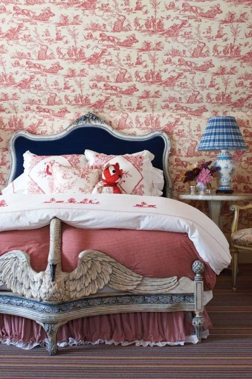 swan bed...red, white & blue