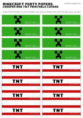 Free Printable Minecraft Birthday Invitations | Printable Minecraft Creeper & TNT party popper cover templates