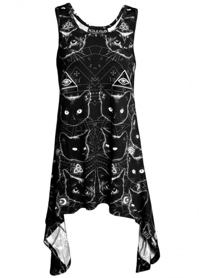 """KILLSTAR """"Black Cats"""" dress - size M/L"""