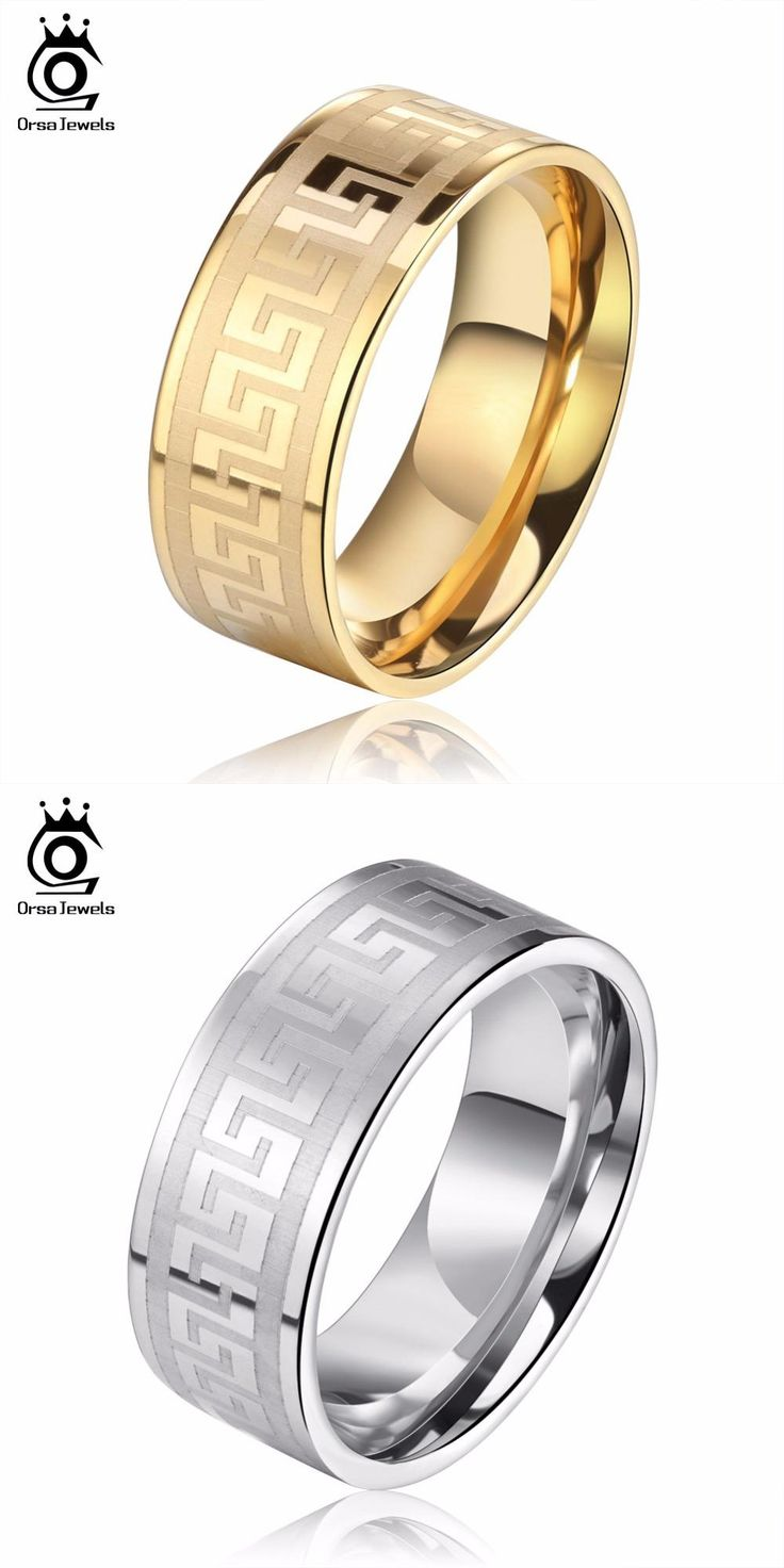 [visit To Buy] Orsa Jewels Lead & Nickel Free 3 Color Wedding Bands Male