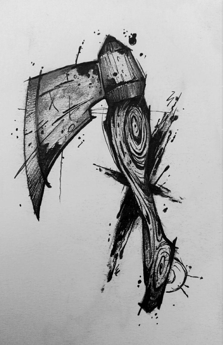 Axe sketch style Tattoo art, Blackandwhite pen draw #art #draw #axe #axesketch #follow #like #pin #tattoo #tattooart #sketchstyle #newschool #blackandwhite #black #darkart #blackart