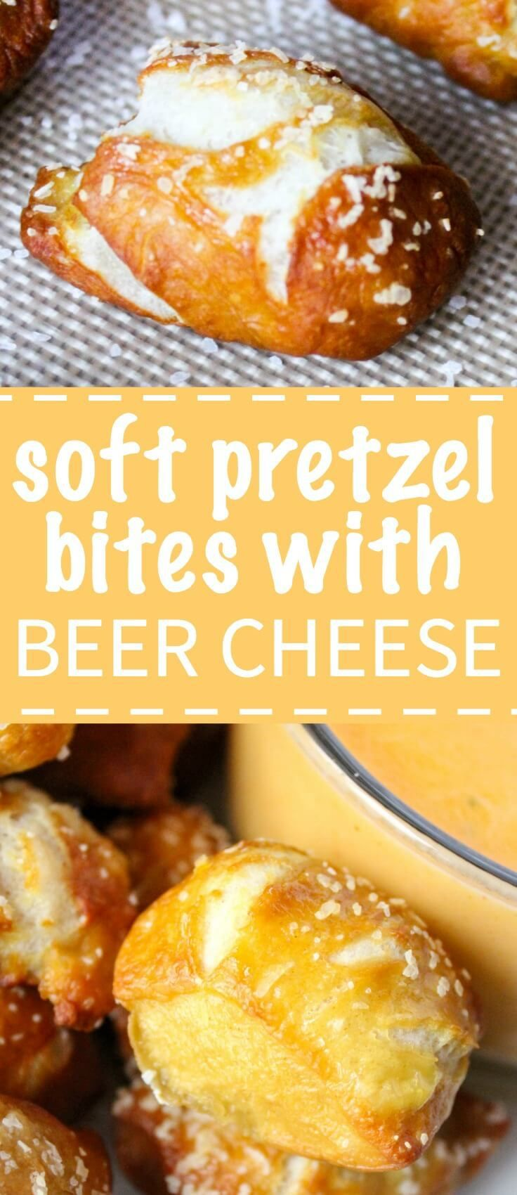 Soft and chewy homemade pretzel bites that are salty and airy with a cheddar beer cheese dip.