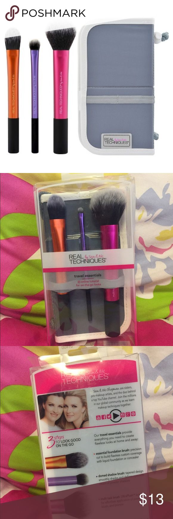Real Techniques Travel Essentials Set NWOT Designed with pro makeup artists Sam + Nic Chapman, Real Techniques brushes combine high-tech materials with innovative design to make creating a pixel-perfect look easier than ever. Brand new! real techniques Makeup Brushes & Tools