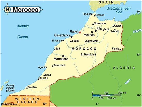 For travel, a map of Morocco is useful!