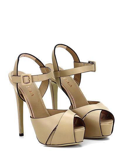 LE SILLA - Sandalo alto - Donna - Sandalo alto in pelle con cinturino alla caviglia e suola in cuoio. Tacco 140, platform 35 con battuta 95. - BEIGE