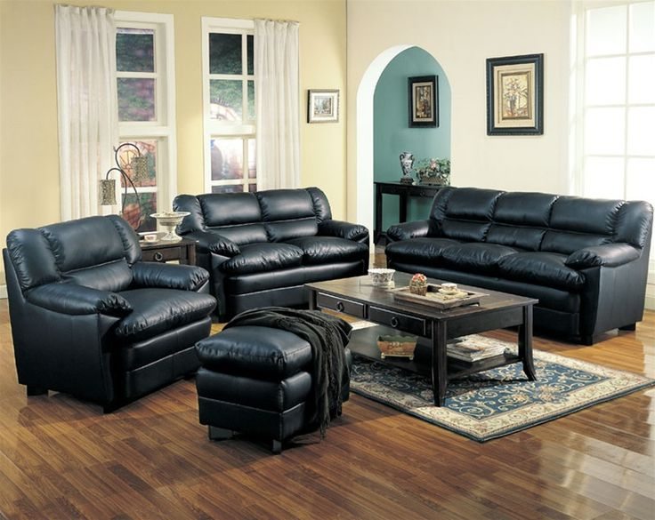 Sofa Set With Pillow Top Seat In Deep Black Bonded Leather By Coaster Home Furnishings