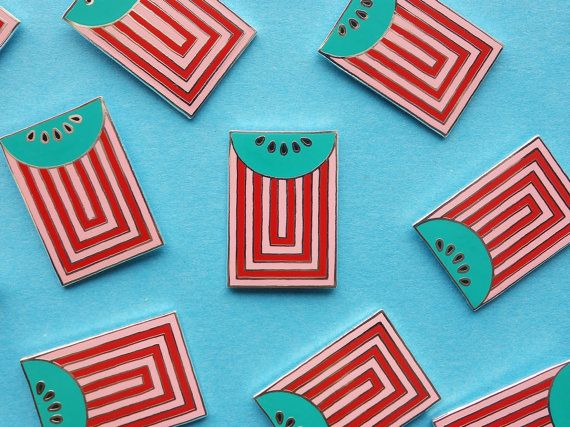 A Weird Square Watermelon Pin by weareoutofoffice on Etsy