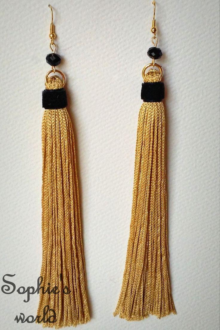 #tassel #earrings #gold #black σκουλαρίκια μακριά φουντίτσες σε χρυσό χρώμα με μαύρη λεπτομ https://www.facebook.com/SophiesworldHandmade/
