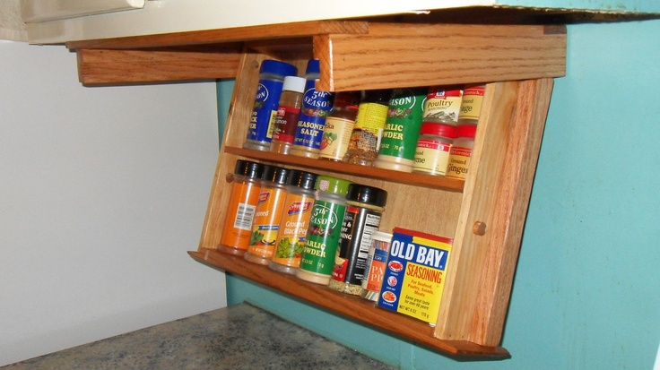 Under Cabinet Mount Spice Rack Drawer Easily Drops Down