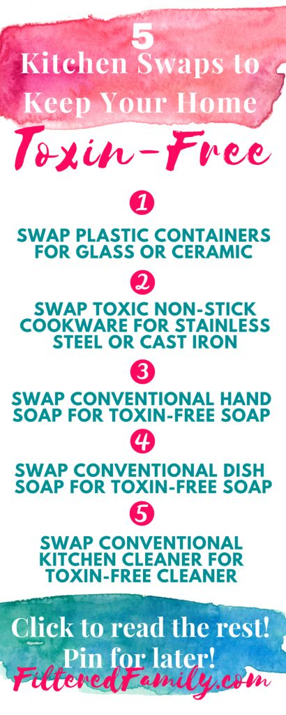 Easy-peasy steps to remove the toxins from your kitchen for all natural living! -- Infographic 5 Kitchen Swaps to Keep Your Home Toxin Free | via Filteredfamily.com