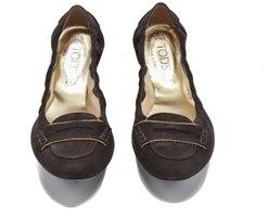 Tod's Brown Womens Suede Ballerina Gold Tone Studded Flats.