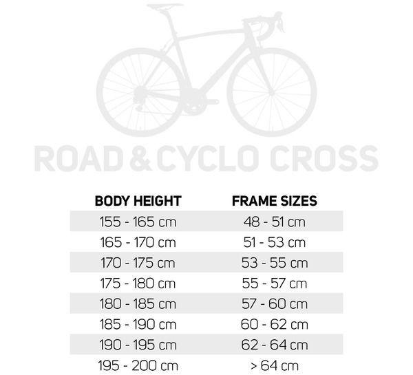 Frame size table Road Bike
