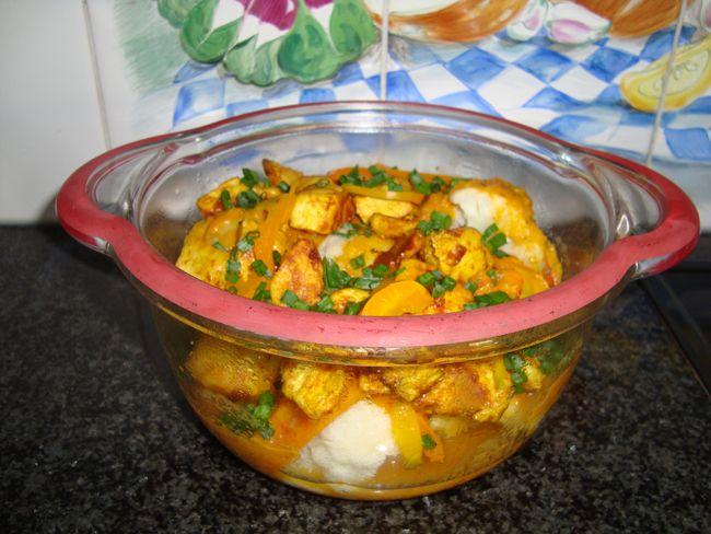 Bloemkool met paprika en kipfilet met currysaus in de thermomix, Recepten - Groenten, Gette.org