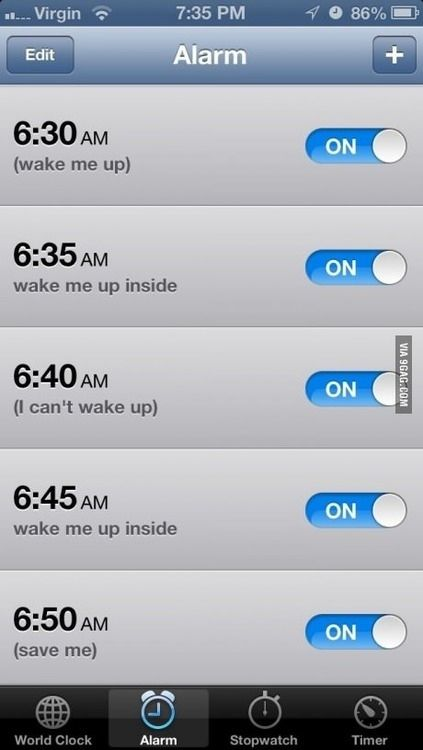 The Evanescence method at work. | 21 iPhone Alarms That Will Definitely Get You Up