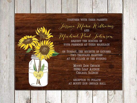 rustic sunflower mason jar wedding invitations  rustic