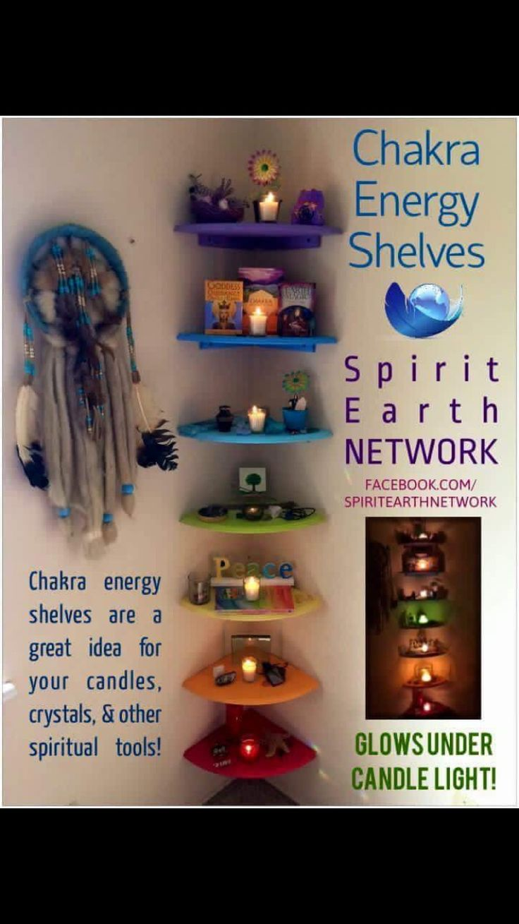 I absolutely love this Chakra Shelves idea, When I make a Healing room, this will be in it.