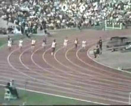 Victoire de Colette Besson sur un 400m en 1968 aux Jeux olympiques de Mexico.