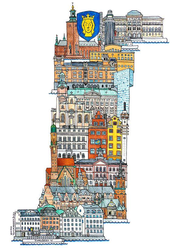Stockholm - ABC illustration series of European cities by Japanese illustrator Hugo Yoshikawa