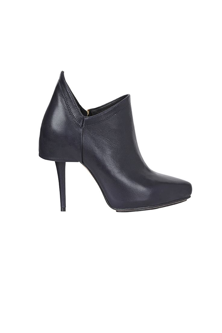 SNAKE CHARMER - french navy leather pointed booties with sculptural wing detail on heel upper. features island platform & 1.5cm internal platform for added comfort. leather lined, leather sole & gold hardware.