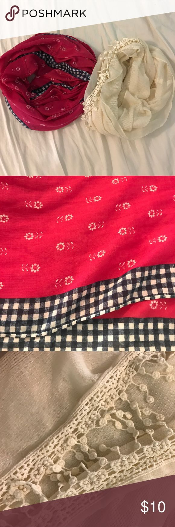 ABERCROMBIE&FITCH SCARVES The magenta/ pink scarves has white flower print with a blue checkered pattern on the edge. The cream one has white details that hang off at the edge. Abercrombie & Fitch Accessories Scarves & Wraps