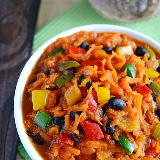 Chakalaka - spicy South African vegetable side-dish; great with grilled food.