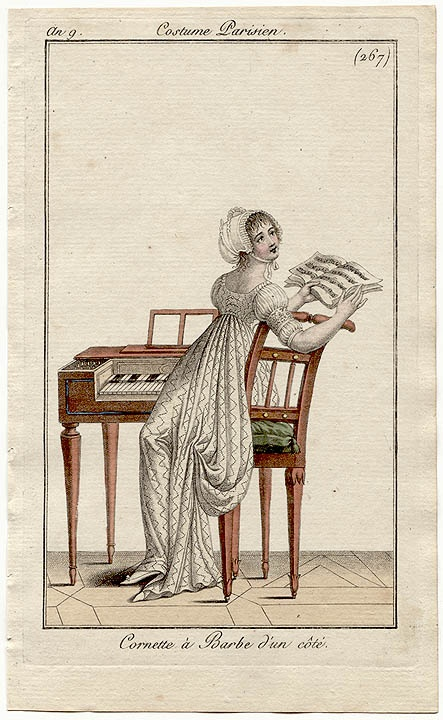 Piano/ harpsichord playing. Costume parisien, an 7