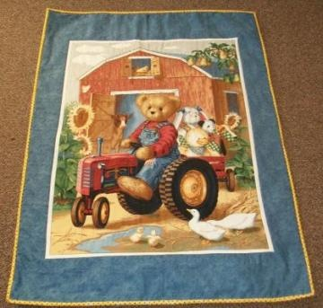Billy the Teedy Bear on Tractor Finished Baby Quilt/ Wall Hanging by MyQuilts4You for $34.99