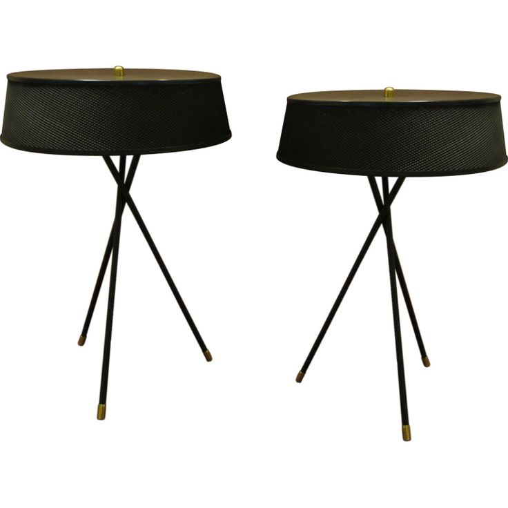 Pair Of Metal 50u0027s Tripod Lamps