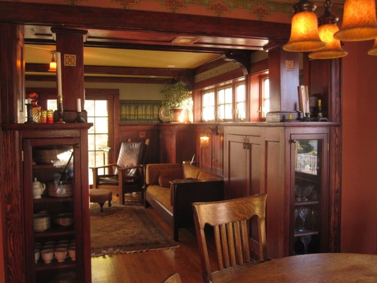 Arts & Crafts Living And Dining Room With Paneling And