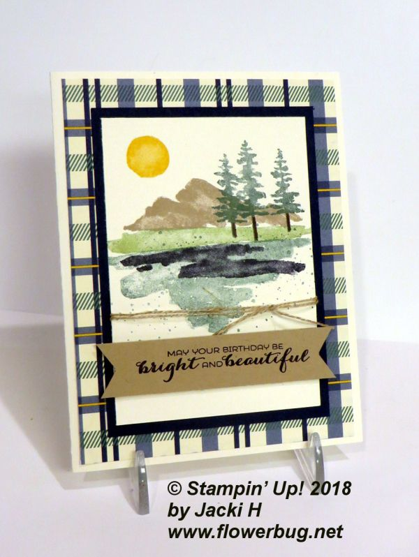 My Team met this weekend for our annual Occasions/Sale-a-Bration shoe-box swap and Jacki brought this card for us to make using the new Waterfront stamp set. I have also been playing with it and am in LOVE! It's an amazing set full of images that create beautiful scenes. A stamp set like this has been on my wish list forever!!!!! I stamped the green grass first using Pear Pizzazz ink. Next was the dark Navy image below. Then the water...