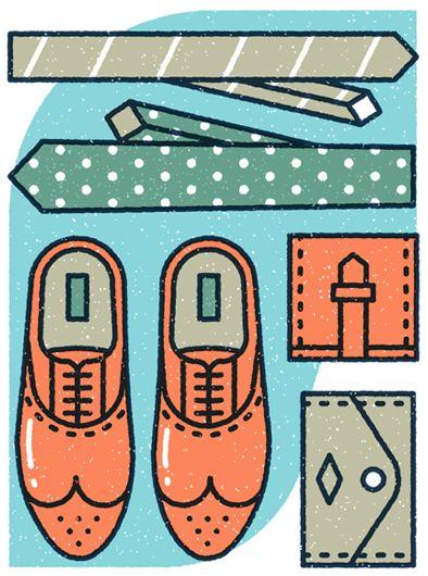 Gentlemen essentials // Monocle #67 by MUTI , via Behance #illustration #dapper