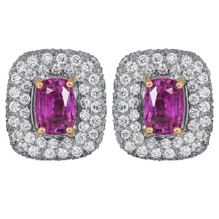 5.37 Carat Pink Sapphire and Diamond Earrings