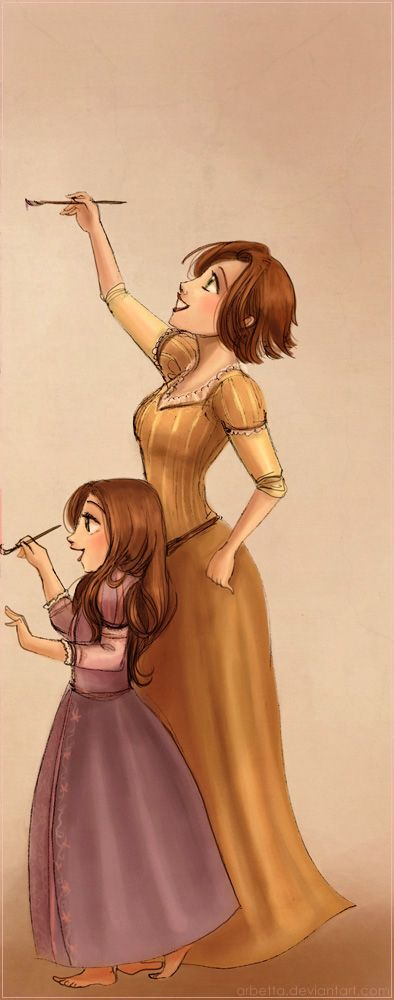 Brunettes by *Arbetta on deviantART ~ Rapunzel and Daughter.  Love this one!