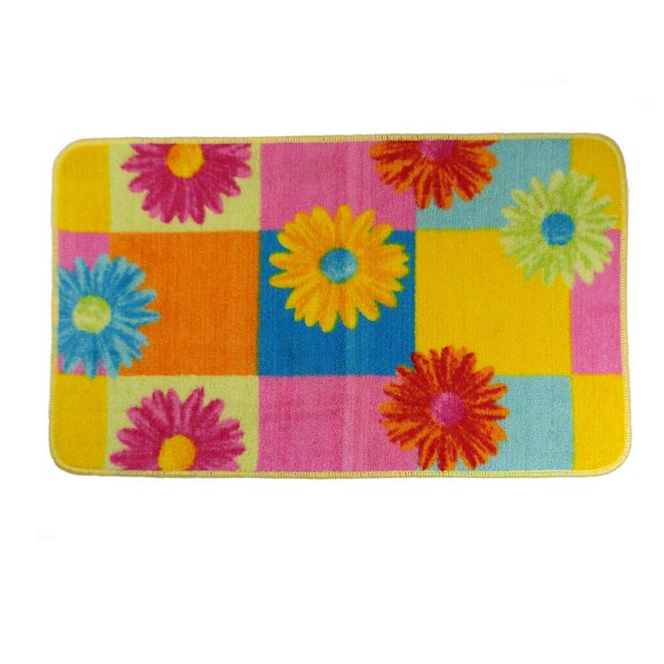 Very Limited Stock Clearance Item Multi-coloured Bath Mat Two Designs to choose from Blue base or Yellow Orange Pink Blue base 75cm x 43 cm Polyester with a PVC backing. Price to sell fast, be quick this is a clearance item.