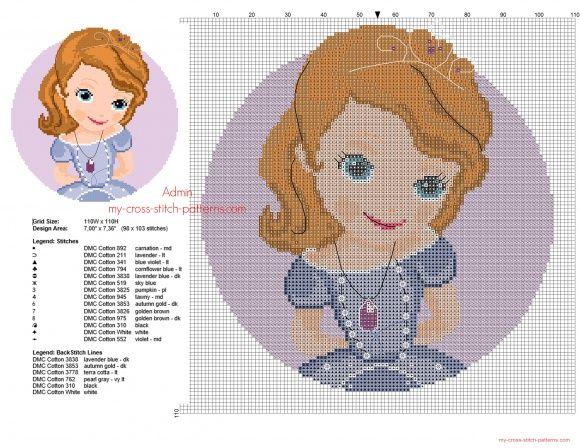 Sofia The First free cross stitch pattern download