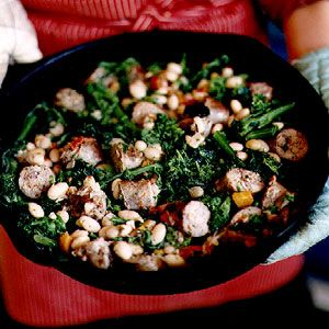 Sweet Italian sausage folded with bitter broccoli rabe and creamy cranberry beans is an excellent simple weeknight meal to end the week.