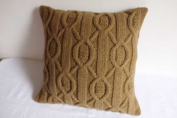 Cappuccino Cable Knit Pillow Case Throw Pillow by Adorablewares