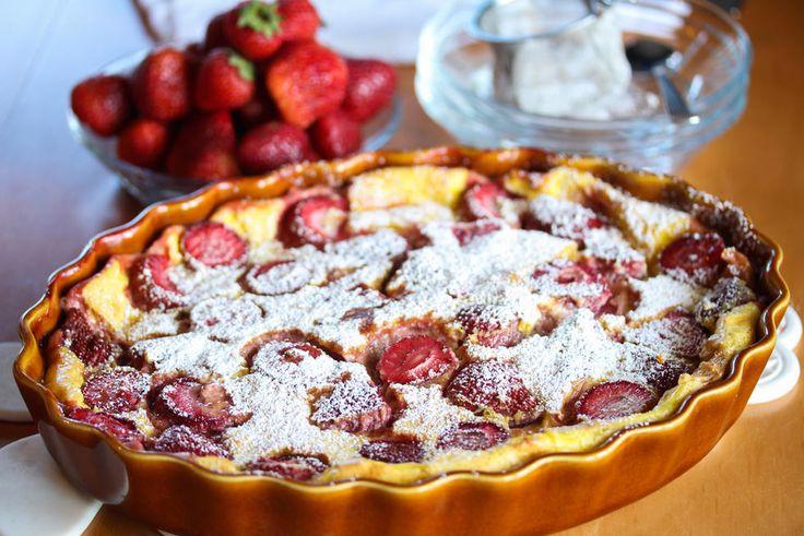Clafoutis med jordbær
