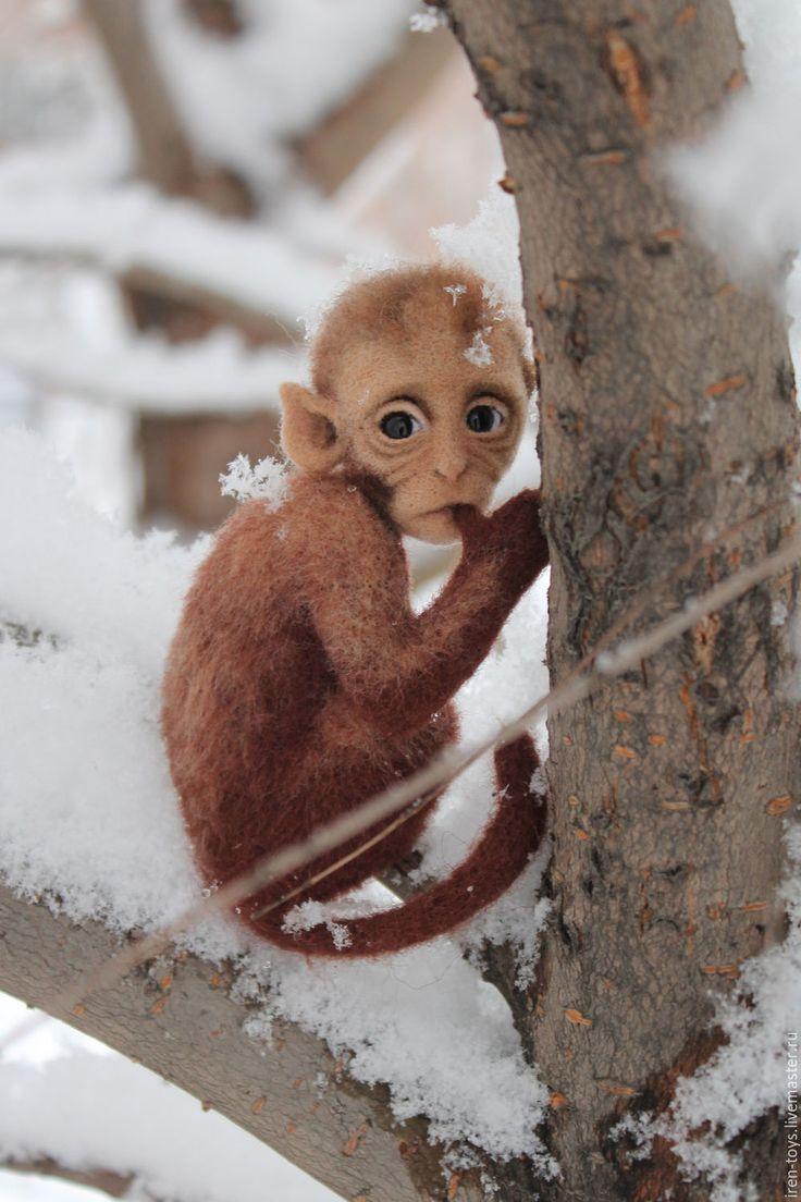 """Купить Брошь-вкладка """"Обезьянка"""" - коричневый, обезьяна, обезьянка, брошь, символ 2016 года"""