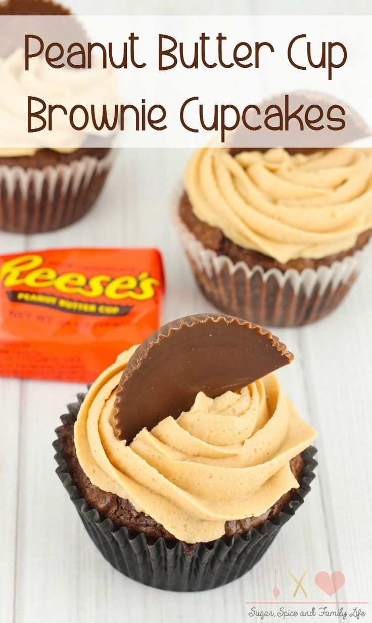 Peanut Butter Cup StuffedBrownie Cupcakes will be enjoyed by anychocolate peanut butter lover. Each chocolate brownie cupcake is stuffed with a peanut butter cup and toppedwith peanut butter frosting. - Peanut Butter Cup Brownie Cupcakes Recipe from Sugar, Spice and Family Life