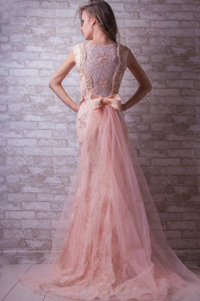 Tulle Back Bow evening dress