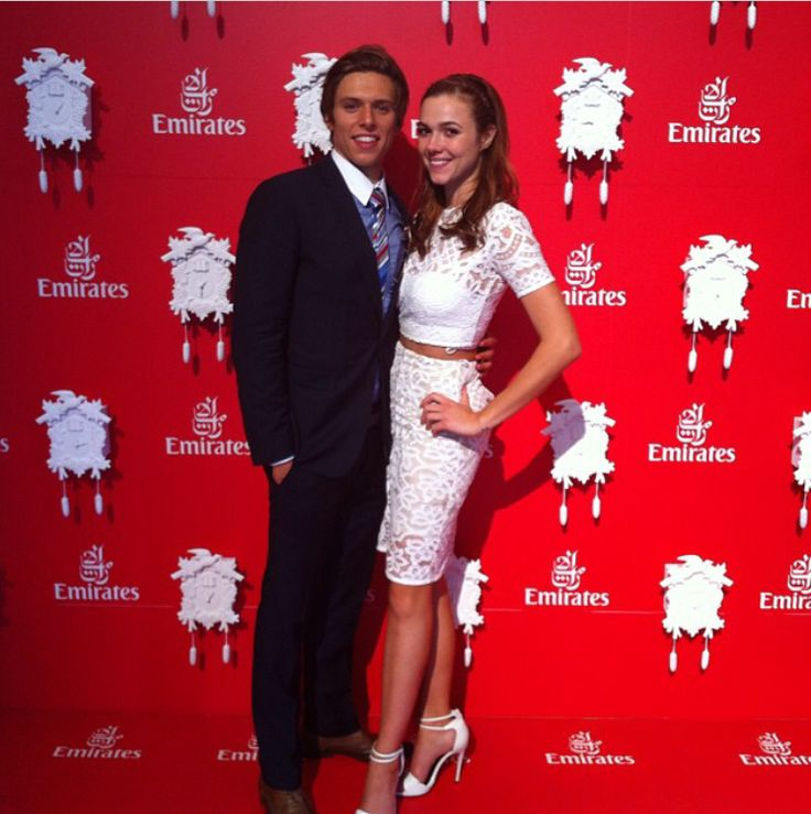 Home and Away star Matt Little enjoying the Emirates Marquee in Calibre's Midnight Fleck suit and Rally Spot Shirt.