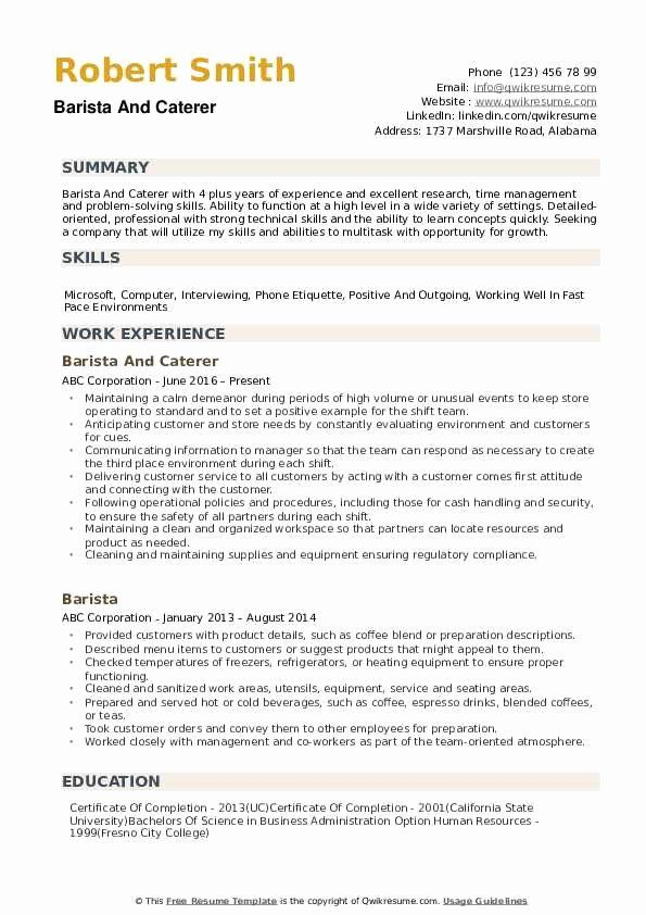 Barista Resume No Experience Beautiful Barista Resume Samples Job Resume Samples Resume No Experience Job Resume