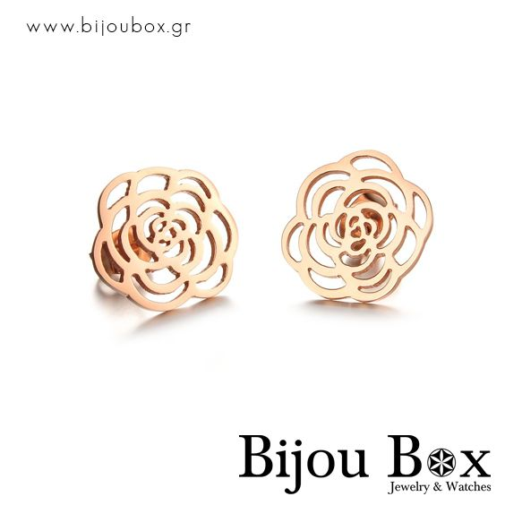 Stainless steel stud earrings rose gold plated FLORAL Σκουλαρίκια καρφιά ρόζ επίχρυσα FLORAL Check out now... www.bijoubox.gr #BijouBox #Earrings #Σκουλαρίκια #Handmade #Χειροποίητο #Greece #Ελλάδα #Greek #Κοσμήματα #MadeinGreece  #RedGold #Gold #jwlr #Jewelry #Fashion