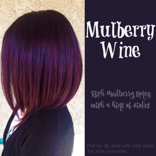Mulberry wine hair colour, purple red