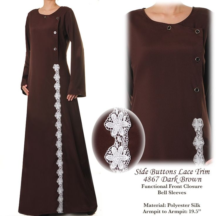 4867 Lace Trim Abaya Dress - Standard Size S/M US$26 FREE SHIPPING WORLDWIDE  Buy It Here --> http://shop.pe/d7FSC