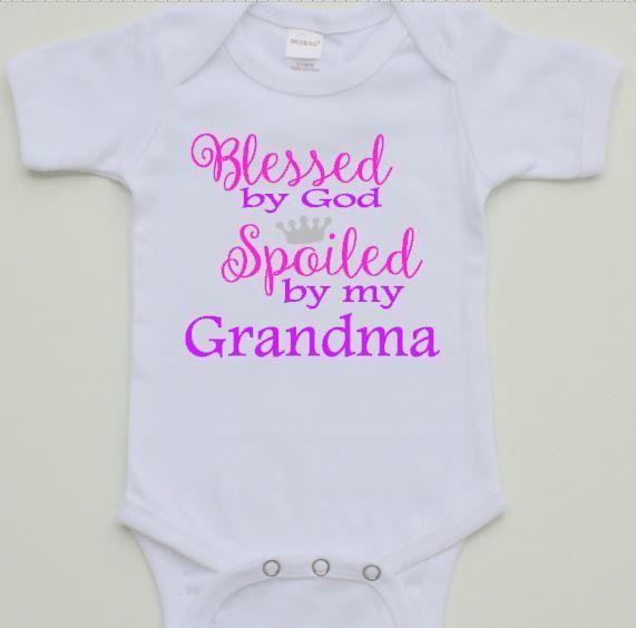 Blessed by God Spoiled by my Grandma onesie // baby t-shirt// cute onesie// funny onesie// baby girl onesie//Baby one onesie/ by TMCreativeCreations on Etsy