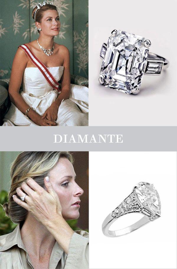 Anéis de noivado famosos -  O Príncipe Rainier III de Mônaco pediu a mão de Grace Kelly com um anel de noivado de diamante de 10,5 quliates com duas baguetes da Cartier. Já o Príncipe Albert deu a Charlene Wittstock um imponente anel de diamante com brilhantes nas laterais da Maison Repossi.