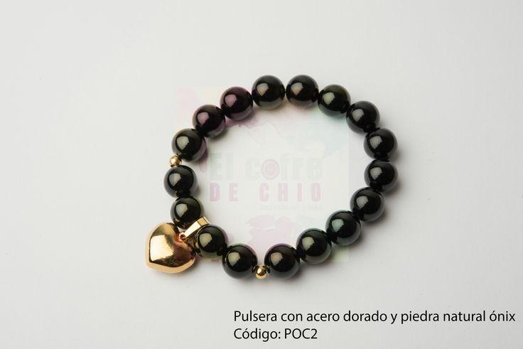 Pulsera con acero dorado y piedra natural ónix  Código: POC2  #pulsera #acero #piedranatural #peru #onix #diadelamadre #elcofredechio